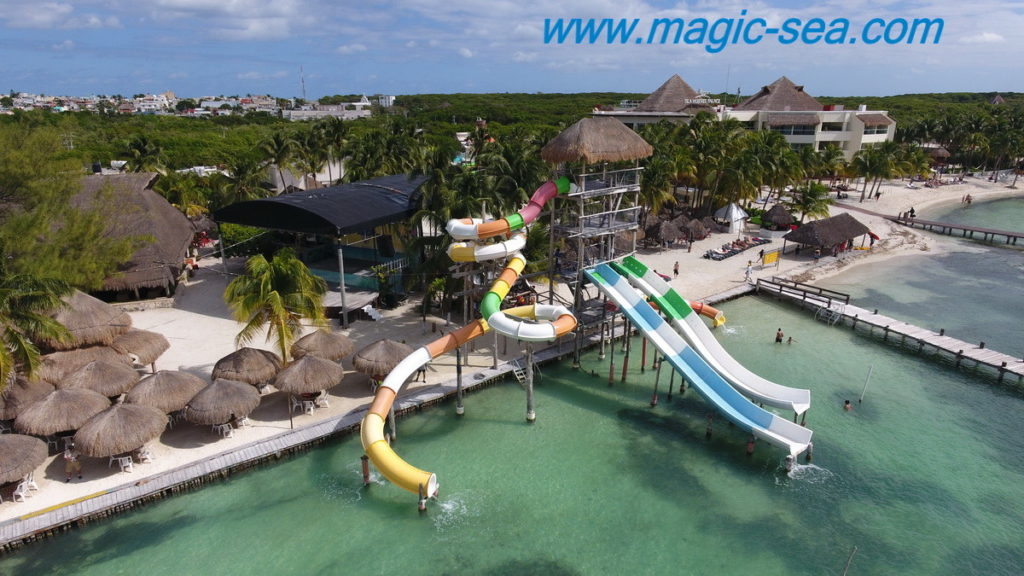 Wter slides at Beach Club Isla Mujeres