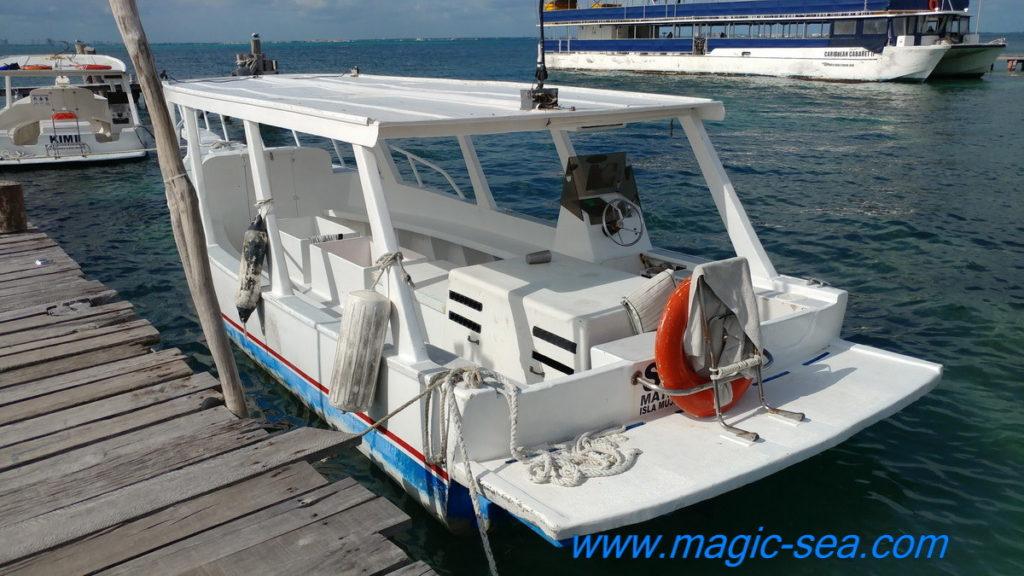 Crystal bottom boat at Beach Club Isla Mujeres