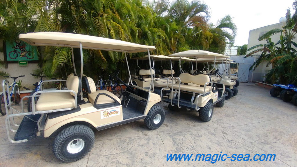 Golf cart at Beach Club Isla Mujeres